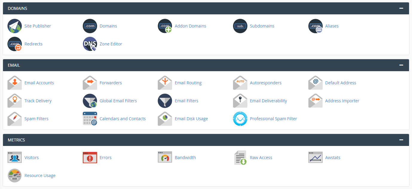 cPanel of FASTCOMET