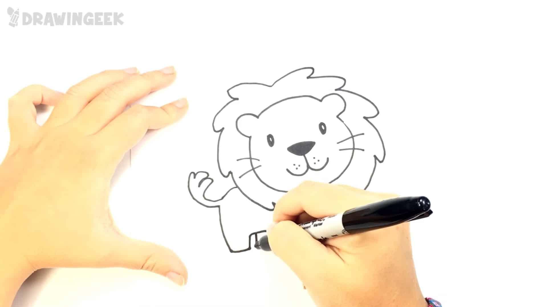 איך לצייר אריה לילדים